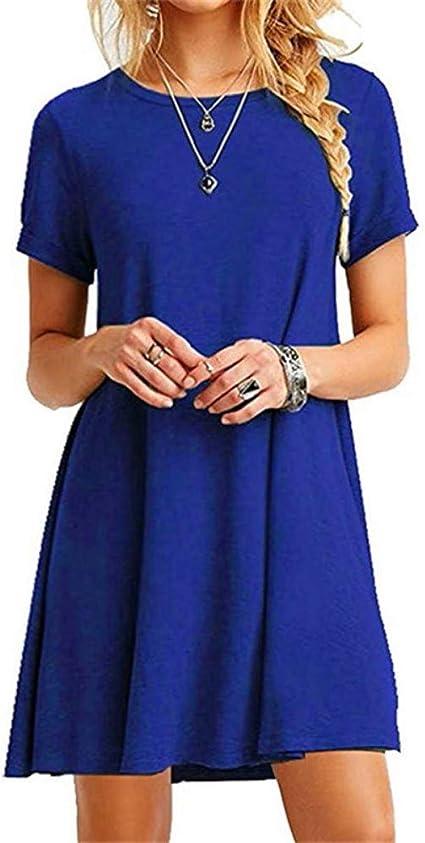 Meilinvren Kleider Mode Frauen Einfarbig Susse Kleid Sommer Kurzarm Oansatz Beilaufige Lose Kleid Weibliche Strasse Plus Grosse Kleid Blau Vestidos Frauen Kleidung Amazon De Bekleidung