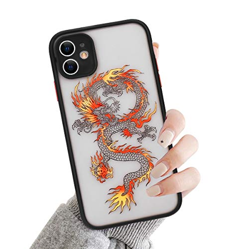 Seafirst Compatible con iPhone 11 Funda, Moda Animal Dragón Patrón Patrón Patrón Transparente Mate PC Back 3D Anti-caída Carcasa para iPhone 11 Naranja