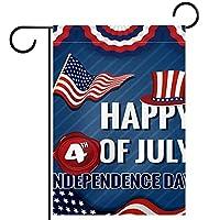 春夏両面フローラルガーデンフラッグウェルカムガーデンフラッグ(12x18in)庭の装飾のため,アメリカ合衆国の幸せな独立記念日の旗を印刷します