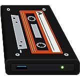 HipDisk Hard Disk Esterno da 63.5 mm, USB 3.0, in Alluminio, con Cover in Silicone, per SATA HDD e SSD, Antiurto, Idrorepellente, 120 GB SSD, Nero (Old School)