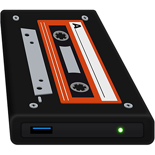 HipDisk LS132 Old School externes Festplattengehäuse 2,5 Zoll USB 3.0 aus Aluminium mit Silikon-Schutzhülle für SATA HDD und SSD stoßfest wasserabweisend schwarz-orange