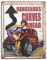 Legends Dangerous Curves ブリキ看板 ビンテージ風 32×40cm 輸入品
