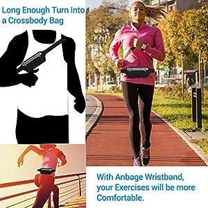 Running Belt, Ultra Light Bounce Free Waist Pouch Fitness Workout Belt Sport Waist Pack Exercise Waist Bag Compatible with iPhone 8 X 7 6+5s Samsung in Running Gym Marathon Cycling Sports