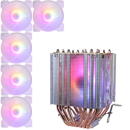 Fransande 1150AMD1366 2011 lámpara de cristal ventilador de cobre para CPU y radiador, 5 ventiladores de casis
