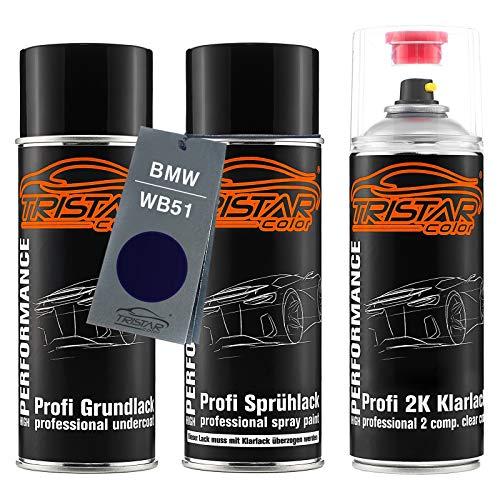 TRISTARcolor Autolack 2K Spraydosen Set für BMW WB51 San Marino Blau Metallic Grundlack Basislack 2 Komponenten Klarlack Sprühdose