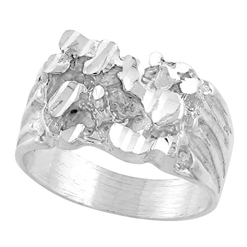 Sterling Silver Nugget Ring Diamond Cut Finish 1/2 inch wide, size 11