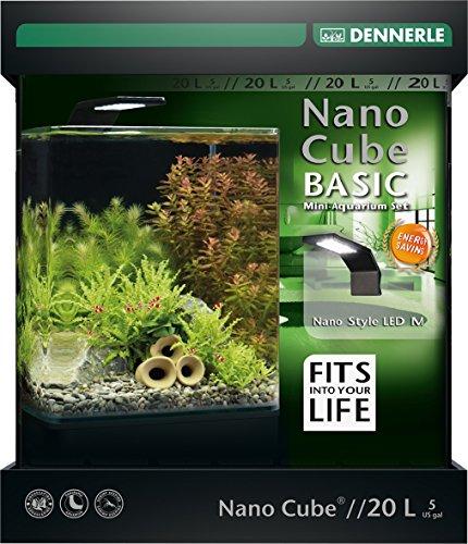 Dennerle Nano Cube Basic 20 Liter - Mini Aquarium mit Abgerundeter Frontscheibe