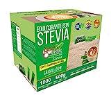 EDULCORANTE STEVIA DULCILIGHT 1000 Sobres, Natural granulado con fibra Vegetal|1gr = 10gr de azúcar| EL Sabor, la textura y el Sonajero del azúcar LIBRE de calorías **