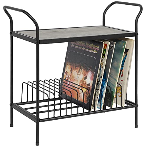 MyGift 2-Tier Vintage Gray Wood & Black Metal Turntable Stand with 14 Slot Vinyl Record Storage Table Holder