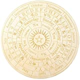 Star Pendulum Board Wooden Dowsing Board Divination Metaphysical Message Board for Witchcraft Wiccan Altar Supplies Kit Beginner Witchcraft Supply, Round Shape (9.8 Inch)