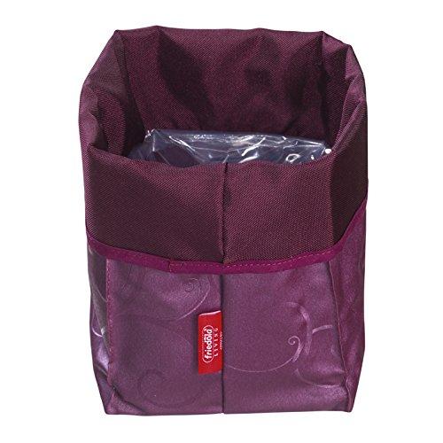 Friedola 40820 45 x 45 x 53 cm-Fleur en Tissu Taille XXL Sac de Pot de Fleurs Aubergine