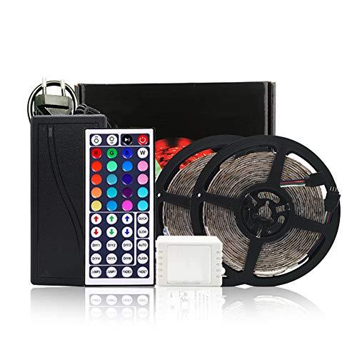 32.8ft LED-Lichtstreifen, Flexibles RGB-Lichtband-Kit mit IR-Fernbedienung, DC12V Nicht wasserdichter Lichtstreifen für Küche Schlafzimmer TV Party,44keyremote
