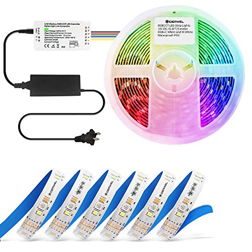 GIDERWEL Smart ZigBee LED Controller Kit with 16.4ft RGBWW LED Strip Lights Works with Hue Bridge,SmartThings for APP Control RGB Cold White Warm White Dimmable Ambiance LED LightStrip Plus