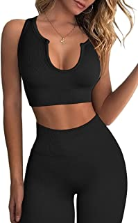 Workout Outfits for Women 2 Piece Ribbed Seamless Crop...