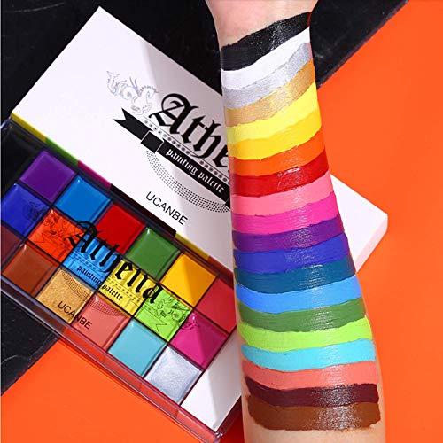 UCANBE Face Body Paint, 20 Farben Professionelle Ölgemälde Flash Tattoo Makeup Palette Malerei Kunst Halloween Party Kostüm Beauty Palette