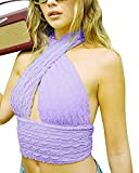 Criss Cross Halter Neck Tops Cutout Backless Cup Detail Strappy Tie Solid Color Basic Tees Crop Tops (Purple, S)