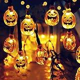 longhua Solar led Luces de Calabaza de Halloween Cadena Festival Fantasma Forma Fantasma Cara Fantasma Luces Intermitentes al Aire Libre Calabaza 2 función 3.5 Metros 10 Luces Color cálido