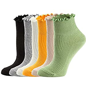 Combed socks, extra soft and smooth, helps keep your feet cool and dry Fashionable lace socks, womens turn-cuff ankle socks with lace trim that can be worn pulled up or folded over, making you special. One size fits most, the casual socks fits Shoe 5...