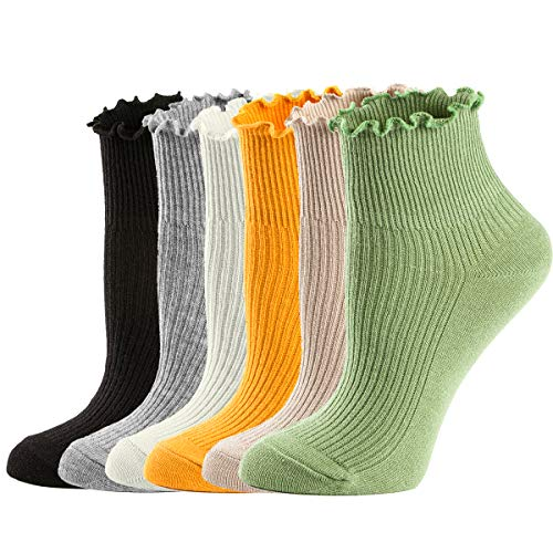 Womens Ankle Casual Lace Ruffle Low Cut Knit Lettuce Frilly Cute Socks 6 Pack