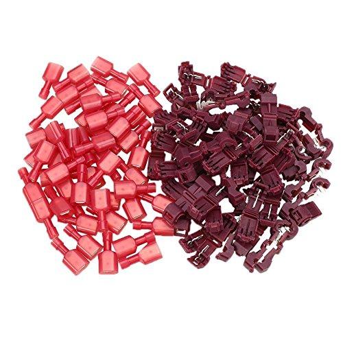 DollaTek 100Pcs (50 pares) Conectores de cables eléctricos aislados de T-Tap rojo Terminales de alambre de bloqueo rápido de empalme Conjunto de engaste de enganche de espada 0.5-1.5 mm2 AWG 2