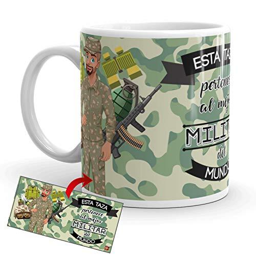 Kembilove Taza de Café del Mejor Militar del Mundo – Taza de Desayuno para la Oficina – Taza de Café y Té para Profesionales – Taza de Cerámica Impresa – Tazas de Jefe de 350 ml para Militares