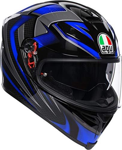 AGV Helm K Casco Integral, Unisex Adulto, Negro/Azul, MS