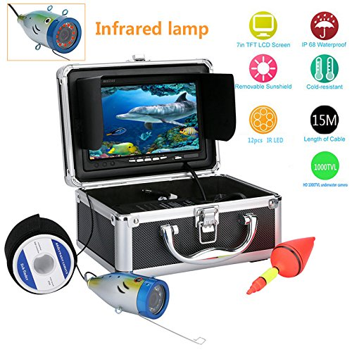 GAMWATER 7' Inch 1000tvl Underwater Fishing Video Camera Kit 12 PCS LED Infrared Lamp Lights Video Fish Finder Lake Under Water Fish cam