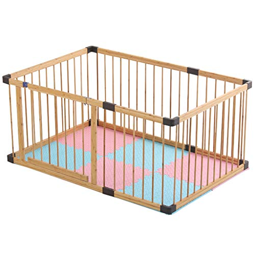 Parc d'activités pour Enfants Fort et Stable, clôture en Bambou avec Porte, Couche protectrice en Cire d'abeille,Enfant Espace Jeu Chambre avec