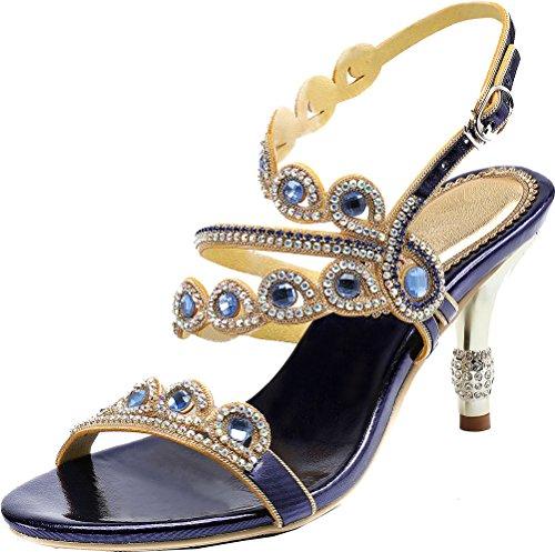 Salabobo L047 - Sandalias de tacón sexy para mujer con diamantes de...