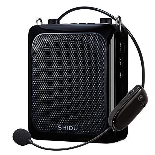 SHIDU Amplificador de voz Bluetooth, amplificador de micrófono inalámbrico 25 W sistema de sonido portátil con micrófono, 2000 mAh batería de litio recargable para guardería/profesores/guías