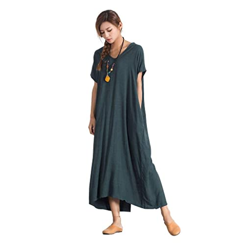 c6fd2a4c2cfa Sellse Women's Linen Loose Summer Large Size Long Dress Plus Size Cotton  Clothing