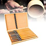 Lehom 8Pcs Wood Lathe Chisel Set Woodworking Turning Chisels Tool Hardwood Handles High Speed Steel Blades Craft Carving Knife DIY Hand Tools with Wooden Storage Case