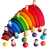 30 PCs Wooden Rainbow Tower Stacker Building Blocks with Balls Dolls Colorful STEM Montessori Toys Sorting Stacking Games Puzzles Educational Kit for Kids