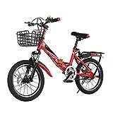 OFFA Bike 16 20 Pulgadas De Bicicletas De Montaña Outroad for Los Niños For 6-13 Años, Bici Plegable Doble Freno De Disco De Bicicletas, Marco De Acero De Alto Carbono, Amortiguador, Rojo