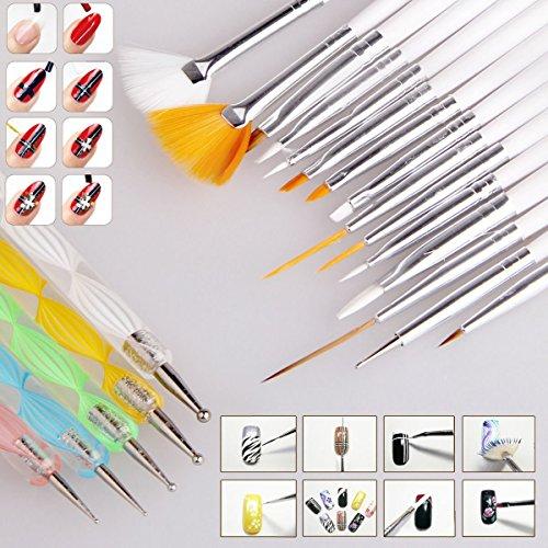 chaud Fille 20 pcs nail art Design Set Dotting Peinture Dessin polonais outils Brosse Pen