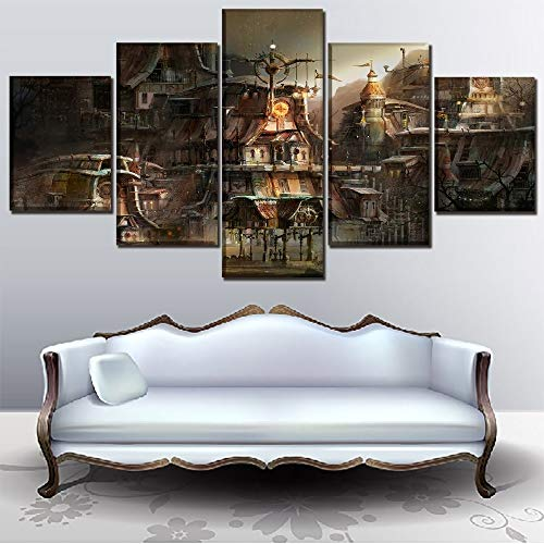 DAXIAO Canvas Print Painting Home Decorative Modular Framework5 Panel Building City Sci Fi Steampunk Poster Modern Wall Art Picture (Color : No Framed, Size (Inch) : Size1) steampunk buy now online