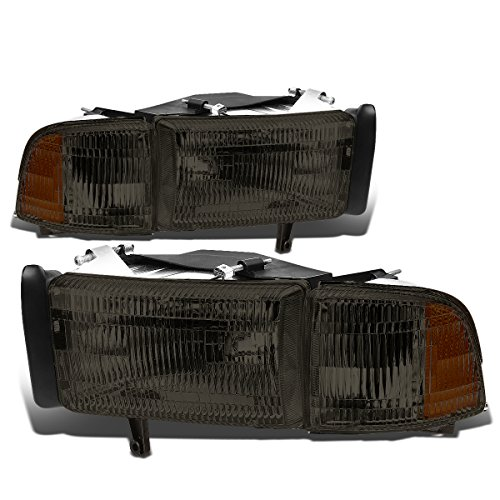 Smoked Lens Halogen Headlights with Corner Lamp Compatible with Dodge Ram 1500 94-01 2500 3500 (Non-Sport Models) 94-02 55076749AD 55076748AD