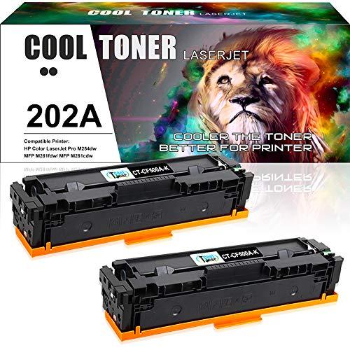 Cool Toner Compatible Toner Cartridge Replacement for HP 202A CF500A 202X CF500X Color Laserjet MFP M281fdw M281cdw M281fdn Pro M254dw M254nw M280nw M281 M254 Ink (Black, 2-Pack)
