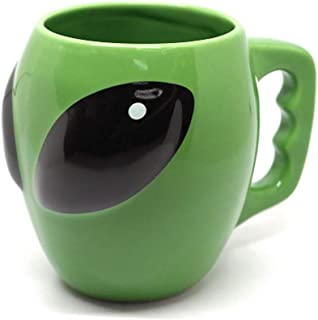 FLY SPRAY Alien Shaped Coffee Mug Ceramic Funny Novelty Unique Cool Cartoon Drinks Cup for Juice Milk Or Tea ET Mug Idea for Kids Green 14 oz
