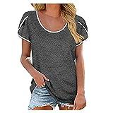 Camiseta de verano para mujer, de manga corta, cuello redondo, básica, holgada, deportiva, cómoda y a rayas, de un solo color, manga corta, informal, para adolescentes y niñas