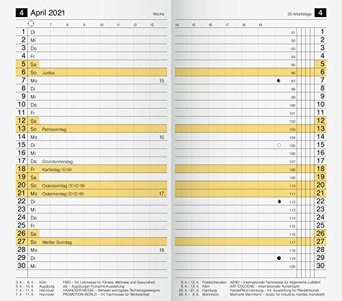 rido/idé 7046830001 Taschenkalender/Plankalender M-Planer Ersatzkalendarium, 2 Seiten = 1 Monat, 87 x 153 mm, Karton-Umschlag, Kalendarium 2021