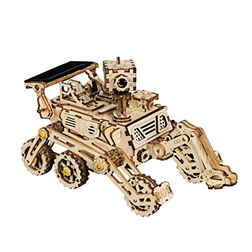 Wooden Model kits For Adult, Small Motor Vehicle Mechanical Model Kit, 3D DIY Wooden Puzzle - Model Building Kit Solar Energy Toy For Kids, Teens and Adults (Curiosity Rover)