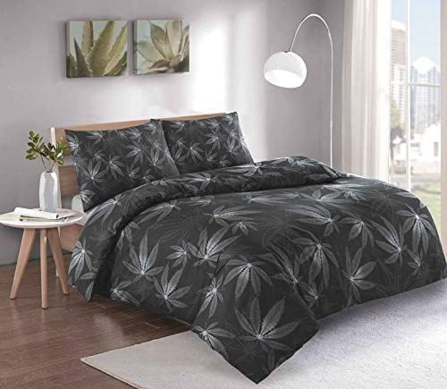 THE HIGH LIFE Cannabis Marijuana Leaf Weed Print Duvet/Quilt Cover Bedding Set With Pillow Cases Green Black White (Black/Grey, Single (137 x 198cm))