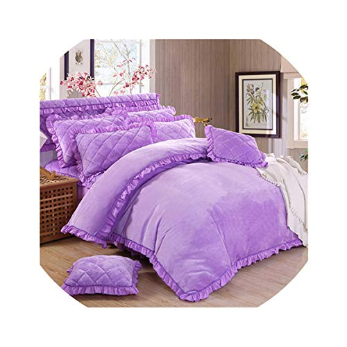 4Pcs Flannel Quilting Princess Style Luxury Bedding Sets Queen King Size Duvet Cover Set Bed Skirt Set Pillowcase Bedclothes,7,King Size 4Pcs