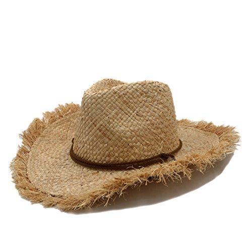 TX GIRL Sombrero de Vaquero clásico Elegante de Paja de Rafia for Caballero Boater de ala Ancha Sombreros de Jazz de Panamá Sombrero de Padrino Gorra Trajes de la Novedad del Partido
