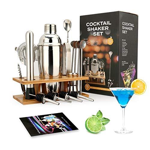 Cocktail-Shaker-Set: 16-teiliges Barkeeper-Set mit Halbrund-Bambus-Ständer – Edelstahl-Barwerkzeug-Set im skandinavischen Stil (17 x 13 x 29 cm)