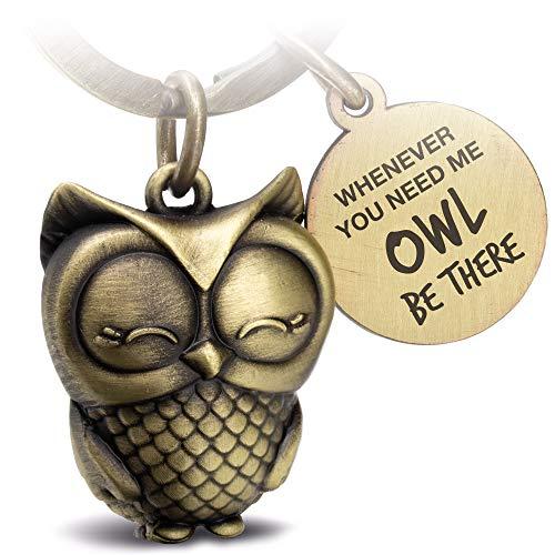 FABACH Eule Schlüsselanhänger Owly mit Gravur - Süßer Schlüsselanhänger Eule - Freundschaft und Liebe Glücksbringer aus Metall für Frauen in Bronze - Whenever You Need me owl be There