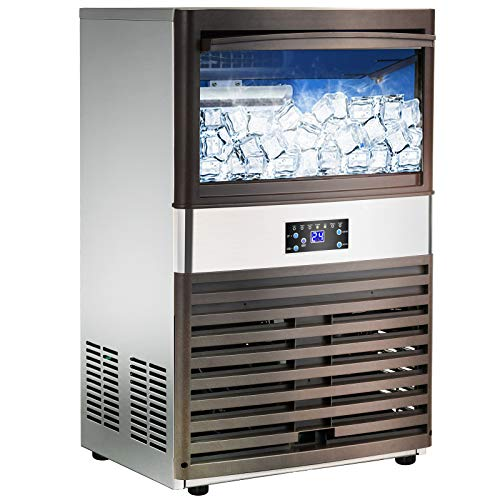 Commercial Ice Machine Maker - Nurxiovo 110LBS/24H Stainless Steel Free-Standing Ice Machine Maker Air Cooling Ice Cube Machine Ideal for Party, Office, Restaurant, Coffee Shop, Bar
