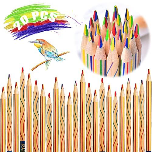 20 Stücke Buntstifte Kinder Zeichnung Bleistifte Buntstifte Dicke Zauberstift Farbstift Farbstift Holzbleistifte Zauberstifte Regenbogen 4 In 1 Für Kunst Zeichnung, Färbung Skizzieren Schulmaterial