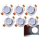 Hengda LED Einbaustrahler 6x 7W Kaltweiß 6500K LED Deckenstrahler Schwenkbar Einbauleuchte 560lm Deckenleuchte 230V Deckenspots Wohnzimmer, Schlafzimmer, Bad